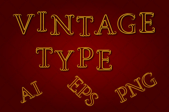 Vintage Type Vector PNG
