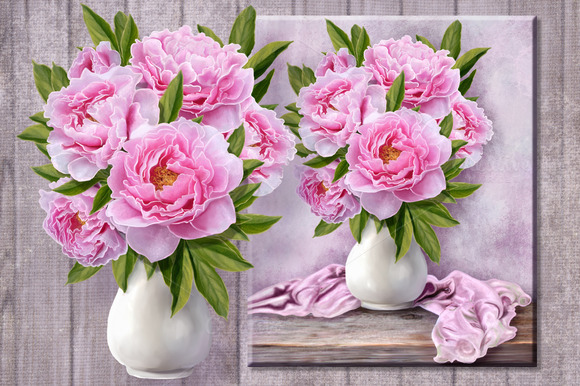 Set. Peony pink, white, red. - Illustrations