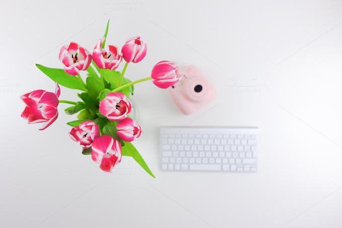 Flowers,Instax,Keyboard. Flatlay - Graphics