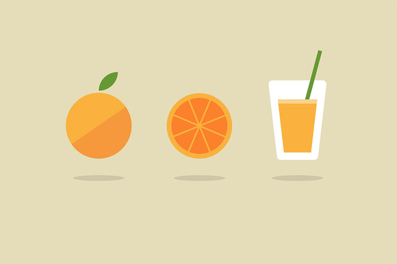 Fresh Orange Juice Icon Set