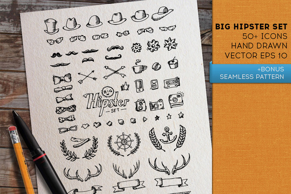 Big hipster set. Vector icons.  - Icons