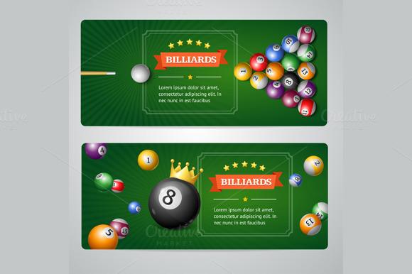 Billiards Baners Set. Vector - Illustrations