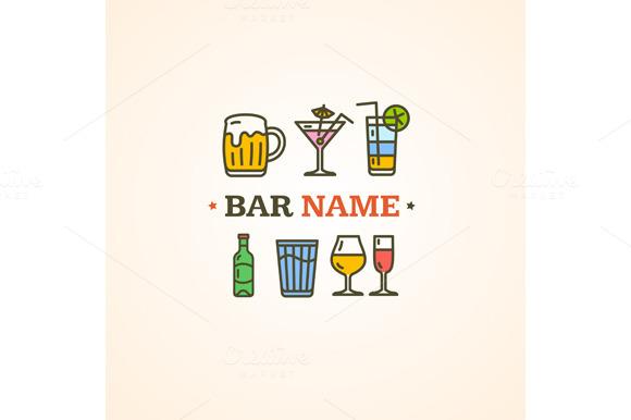 Drink Alcohol Beverage Sign. Vector - Illustrations