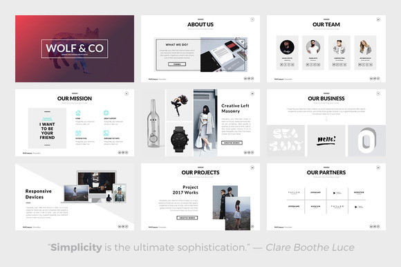 cm – wolf minimal powerpoint template 614585 - heroturko download, Presentation templates
