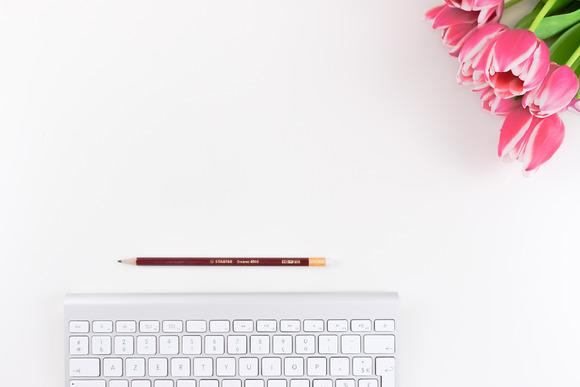 Pink Flower & keyboard. Hero Image. - Product Mockups
