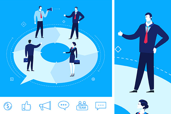 Teamwork. Business meeting(+6 icons) - Illustrations