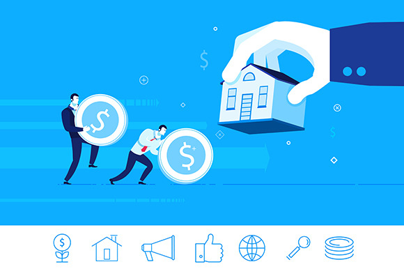 The property. Mortgage (+ 6 icons) - Illustrations