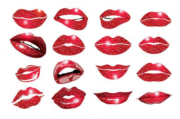 vector, lips red set. Design glitter - Graphics