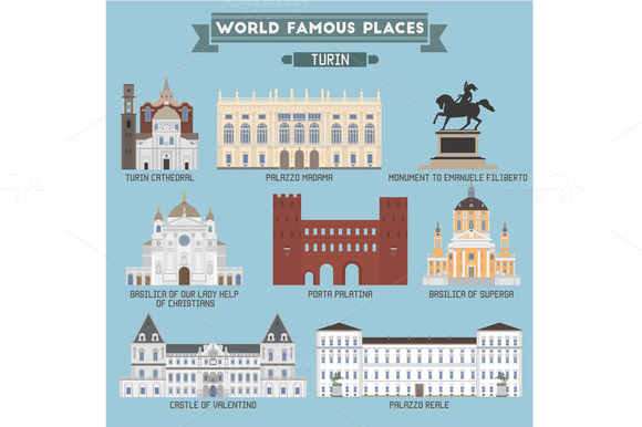 World Famous Place. Italy. Turin - Icons