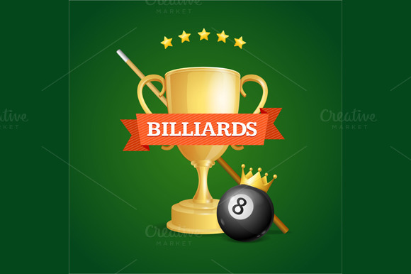 Winning Billiards. Vector - Illustrations
