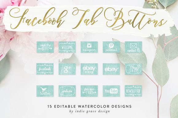 Aqua Watercolor Facebook App Images