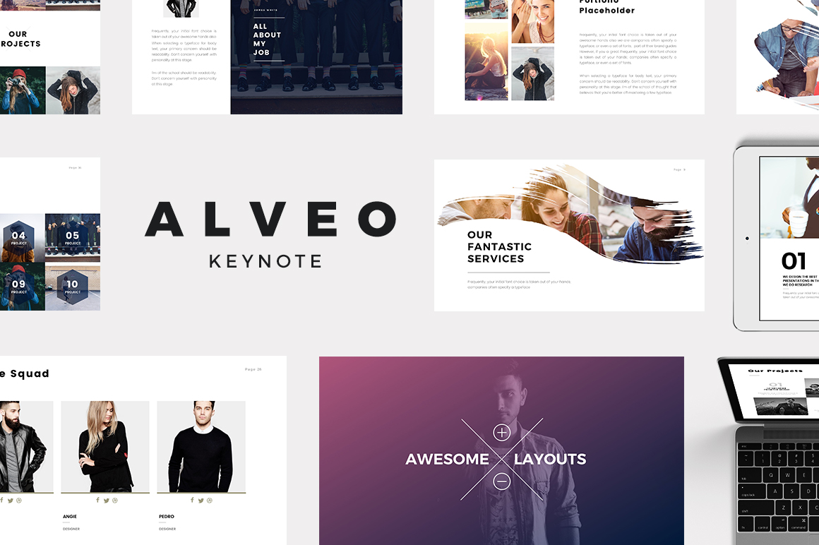 alveo minimal keynote template presentation templates on creative market. Black Bedroom Furniture Sets. Home Design Ideas