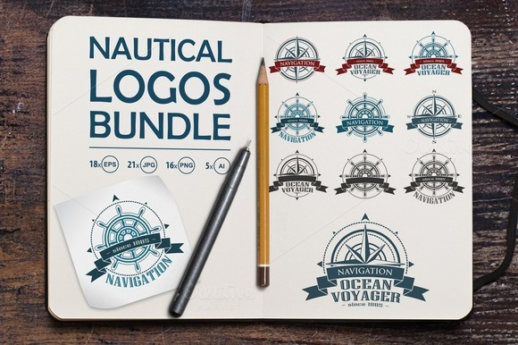Nautical logos big bundle. Vector. - Illustrations