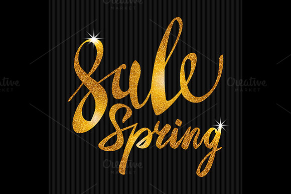 Spring Sale. Gold vector light - Graphics