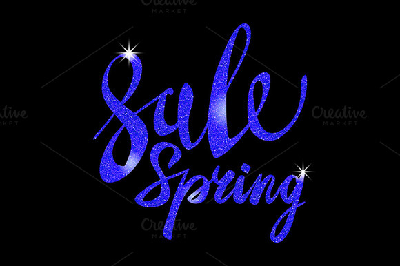 Spring Sale. blue inscription vector - Graphics