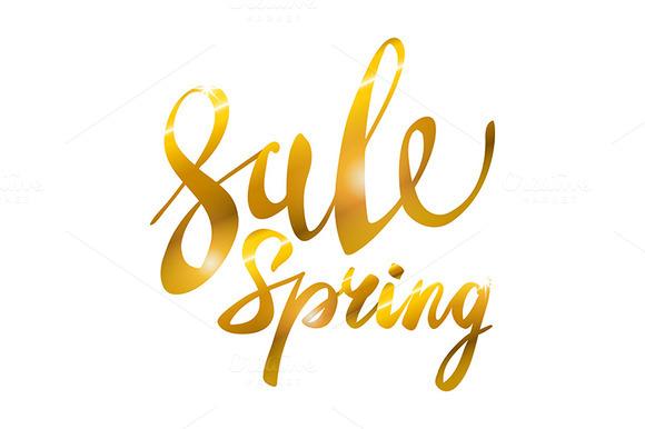 Spring Sale. Gold glamor, light,  - Graphics