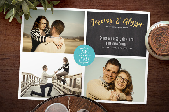 Photo Collage Wedding Invitation