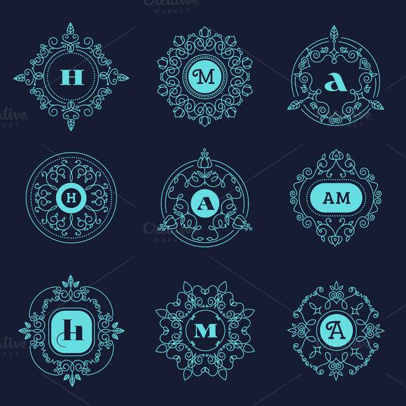 Set Luxury Monogram Vector