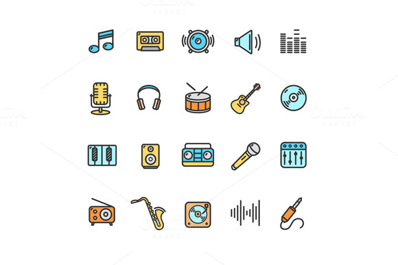 Music Icon Set Color. Vector - Icons