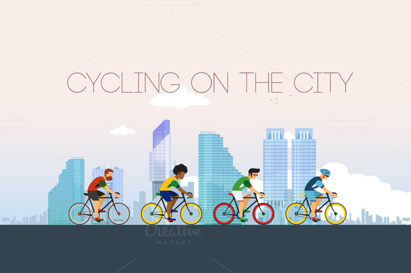 Cycling on the city. Flat style. - Illustrations