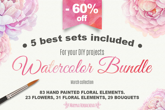 Big watercolor bundle. 5 sets incl. - Illustrations