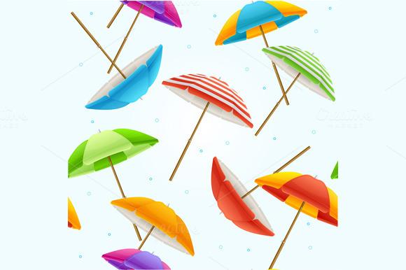 Beach Umbrella Background. Vector - Patterns