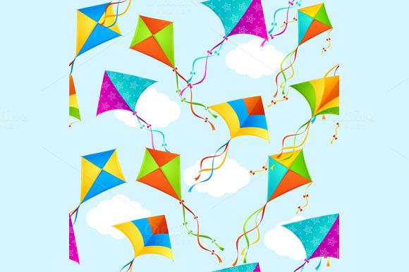 Kite Background Pattern. Vector - Patterns