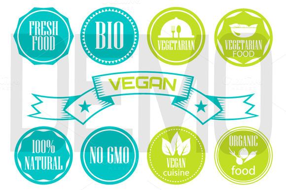 Eco labels. vegetarian food emblems. - Illustrations