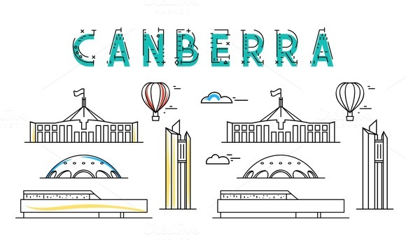 Canberra. Capital city of Australia. - Objects