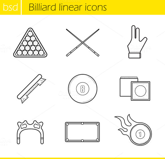 Billiard linear icons set. 9 items - Icons