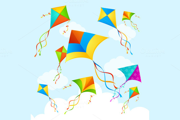 Colorful Kite Background. Vector - Illustrations