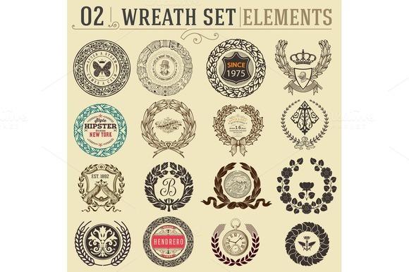 Laurel wreath set. Design elements - Illustrations