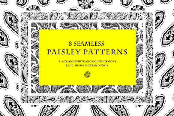 8 Seamless Paisley Patterns