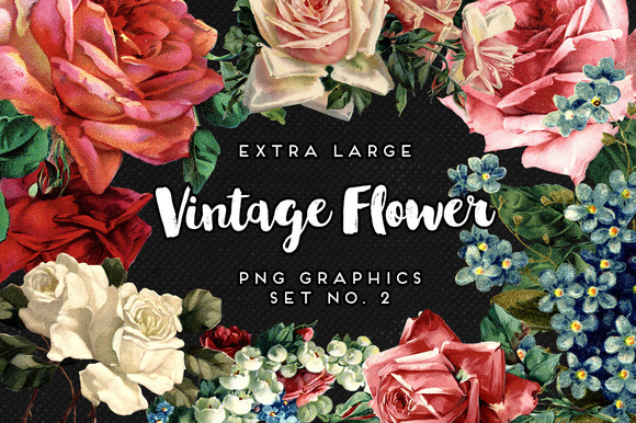 Large Vintage Flower Graphics No. 2 - Objects