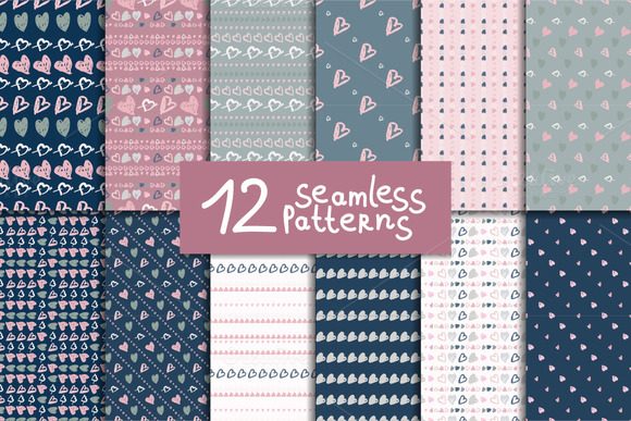 12 seamless patterns. Doodle hearts - Patterns