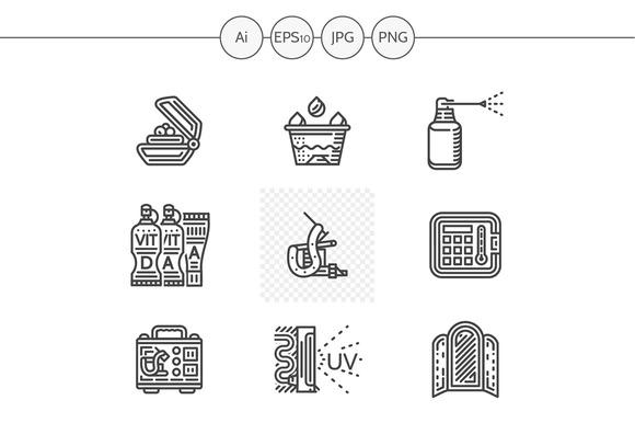 Tattoo equipment line icons. Set 3 - Icons