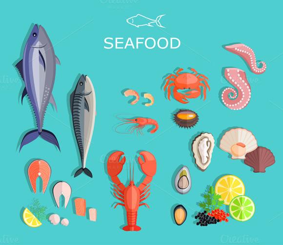 Seafood Set Fish And Crab