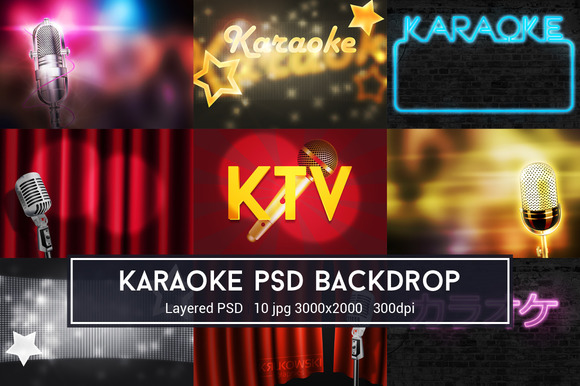 Karaoke PSD Backdrop ~ Textures on Creative Market