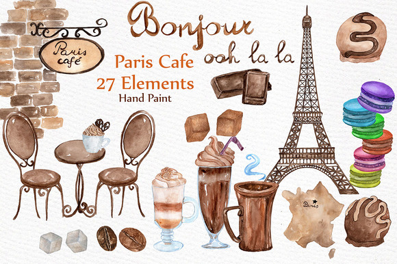 Watercolor Paris Cafe Clipart