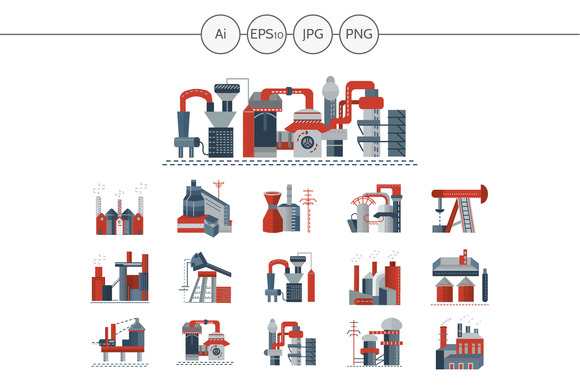 Factories and plants icons. Set 1 - Icons