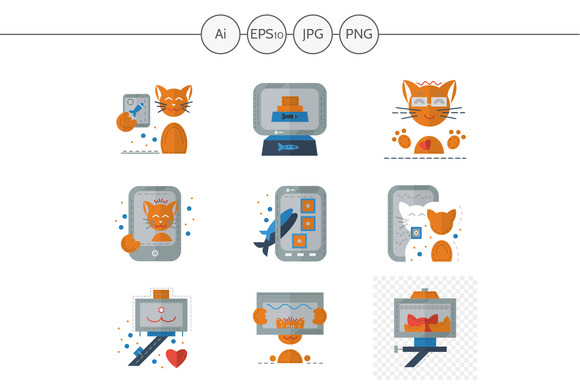 Red cat selfie color icons. Set 1 - Icons