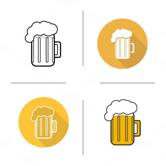 Glass of beer icons. Vector - Icons