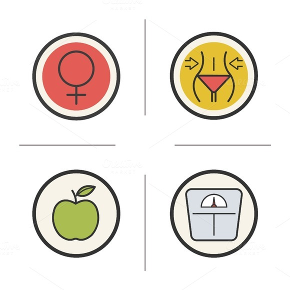 Weight loss color icons set. Vector - Icons