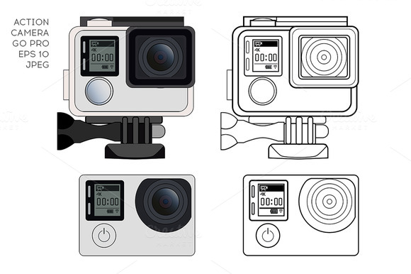 Action camera. Vector. - Objects
