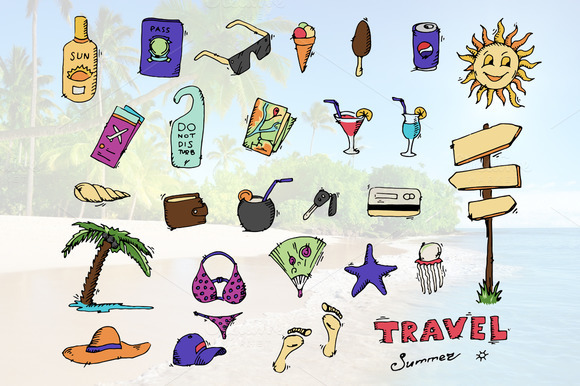 Doodle travel icons set. Vector.  - Icons