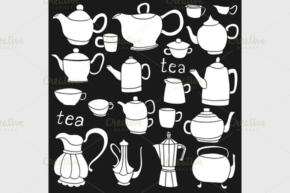 Sketches Of Tea And Coffee Objects