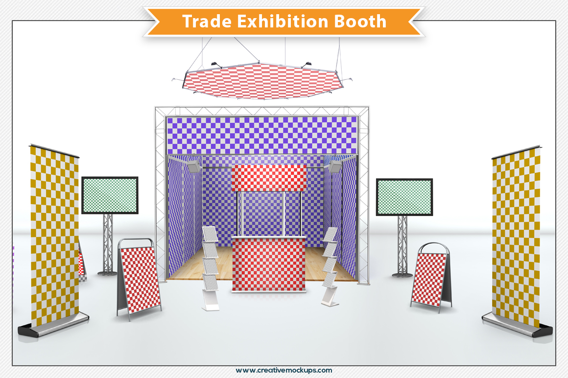 Exhibition Booth Template Free : Trade exhibition booth product mockups on creative market