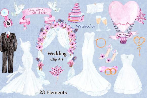 CM - Watercolor wedding dresses clipart 646632