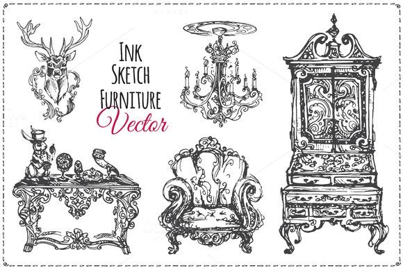 Vintage furniture ink. vector - Illustrations