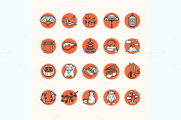 Japan Icon Set. Vector - Icons